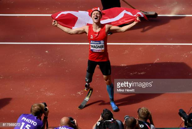 Daniel Wagner of Denmark celebrates victory in the Men's Long Jump T42 Final during day five of the IPC World ParaAthletics Championships 2017 at the...