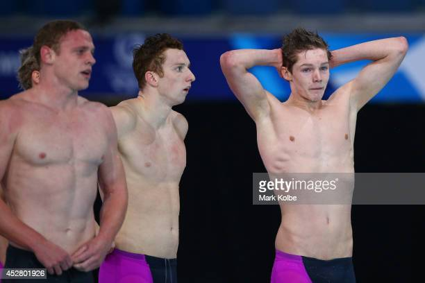 Daniel Wallace and Duncan Scott of Scotland react after winning the silver medal in the Men's 4 x 200m Freestyle Relay Final at Tollcross...