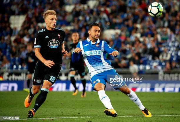 Daniel Wass and Sergio Garcia during La Liga match between RCD Espanyol v Celta in Barcelona on September 18 2017