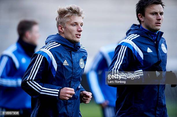 Daniel Wass in action during the Denmark training session at MCH Arena on March 22 2016 in Herning Denmark