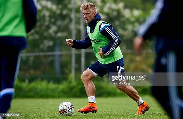 Daniel Wass in action during the Denmark training session at Helsingor Idratspark on June 2 2015 in Helsingor Denmark