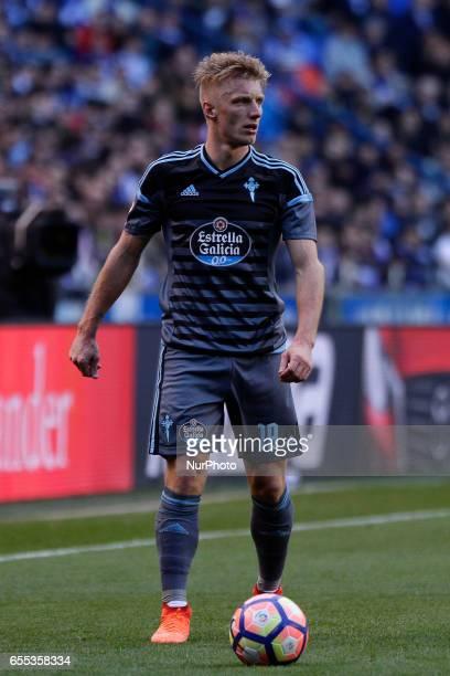 Daniel Wass midfielder of Celta de Vigo during the La Liga Santander match between Deportivo de La Coruña and Celta de Vigo at Riazor Stadium on...