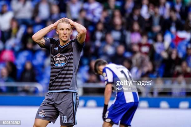 Daniel Wass midfielder of Celta de Vigo reacts during the La Liga Santander match between Deportivo de La Coruña and Celta de Vigo at Riazor Stadium...