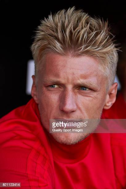 Daniel Wass of Celta de Vigo looks on during the preseason friendly match between Celta de Vigo and Sporting de Gijon at A Malata Stadium on July 22...