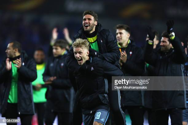Daniel Wass of Celta Vigo celebrates with team mates after the UEFA Europa League quarter final second leg between KRC Genk and Celta Vigo at Luminus...