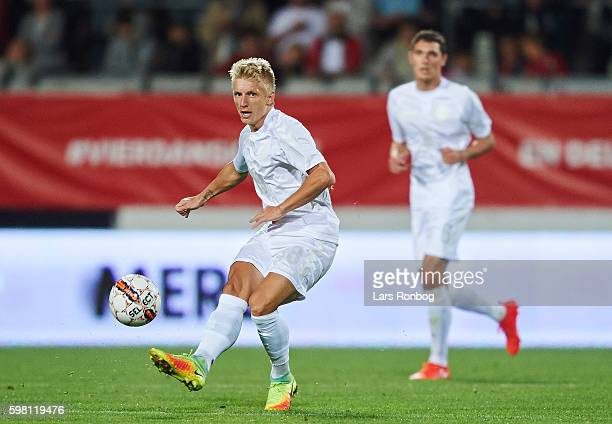 Daniel Wass of Denmark in action during the international friendly match between Denmark and Liechtenstein at Casa Arena on August 31 2016 in Horsens...