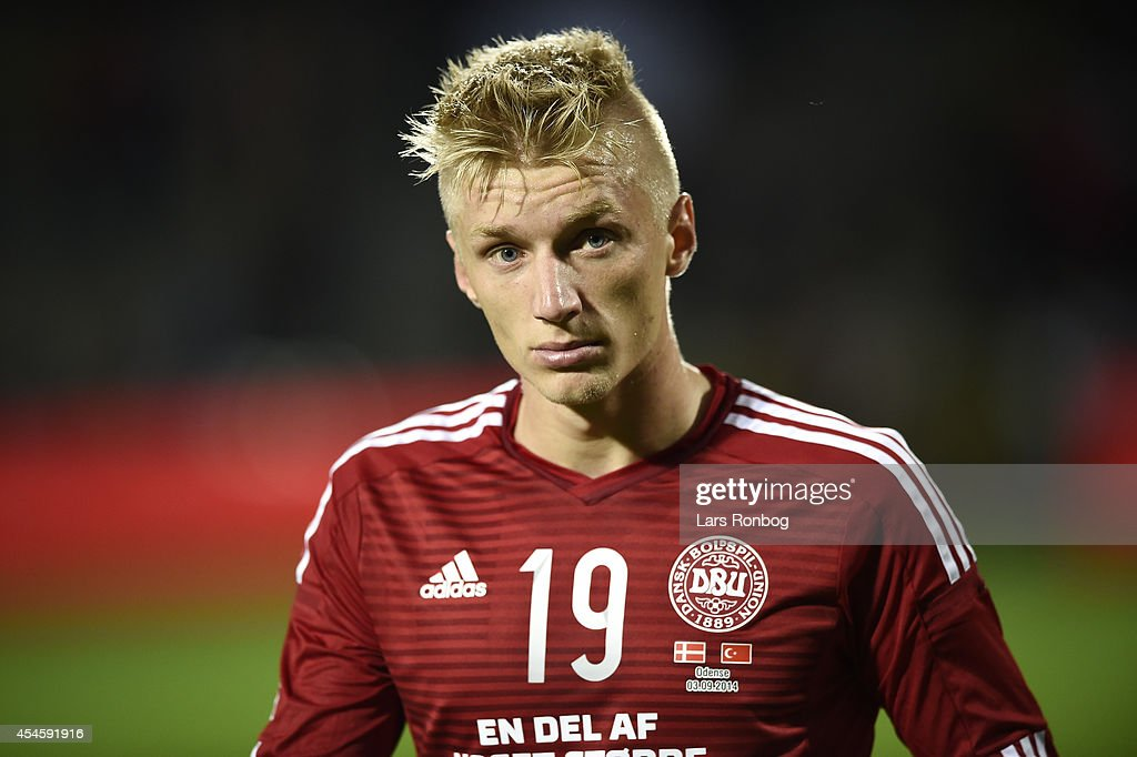 <a gi-track='captionPersonalityLinkClicked' href=/galleries/search?phrase=Daniel+Wass&family=editorial&specificpeople=7487616 ng-click='$event.stopPropagation()'>Daniel Wass</a> of Denmark looks dejected after the international friendly between Denmark and Turkey at TreFor Park on September 3, 2014 in Odense, Denmark.