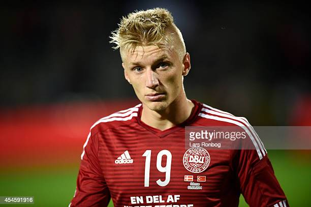 Daniel Wass of Denmark looks dejected after the international friendly between Denmark and Turkey at TreFor Park on September 3 2014 in Odense Denmark