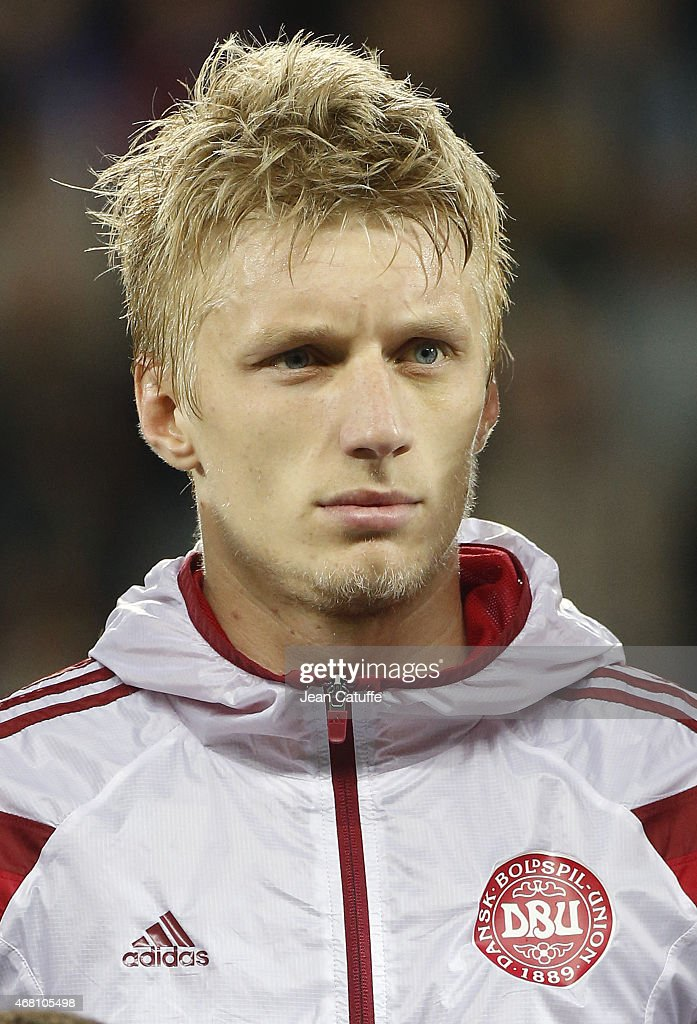 <a gi-track='captionPersonalityLinkClicked' href=/galleries/search?phrase=Daniel+Wass&family=editorial&specificpeople=7487616 ng-click='$event.stopPropagation()'>Daniel Wass</a> of Denmark poses prior to the international friendly match between France and Denmark at Stade Geoffroy-Guichard on March 29, 2015 in Saint-Etienne, France.