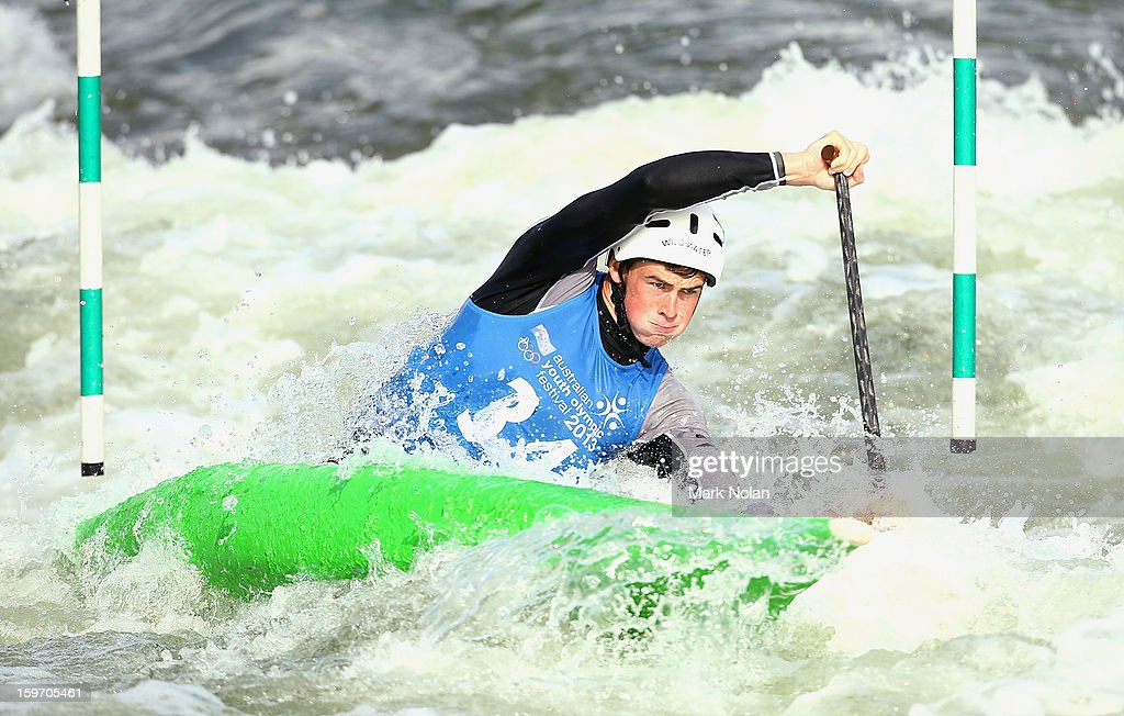 Daniel Watkins of Australia competes in the Men's Canoe during day four of the Australian Youth Olympic Festival at the Penrith White Water Stadium on January 19, 2013 in Sydney, Australia.
