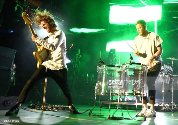 Daniel Wayne Sermon and Dan Reynolds of Imagine Dragons perform during the 2017 KROQ Weenie Roast Y Fiesta at StubHub Center on May 20 2017 in Carson...
