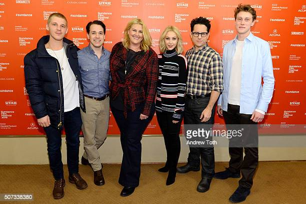 Daniel Webber TR Knight Bridget Carpenter Sarah Gadon JJ Abrams and George MacKay attend the '112263' Sundance Premiere on January 28 2016 in Park...