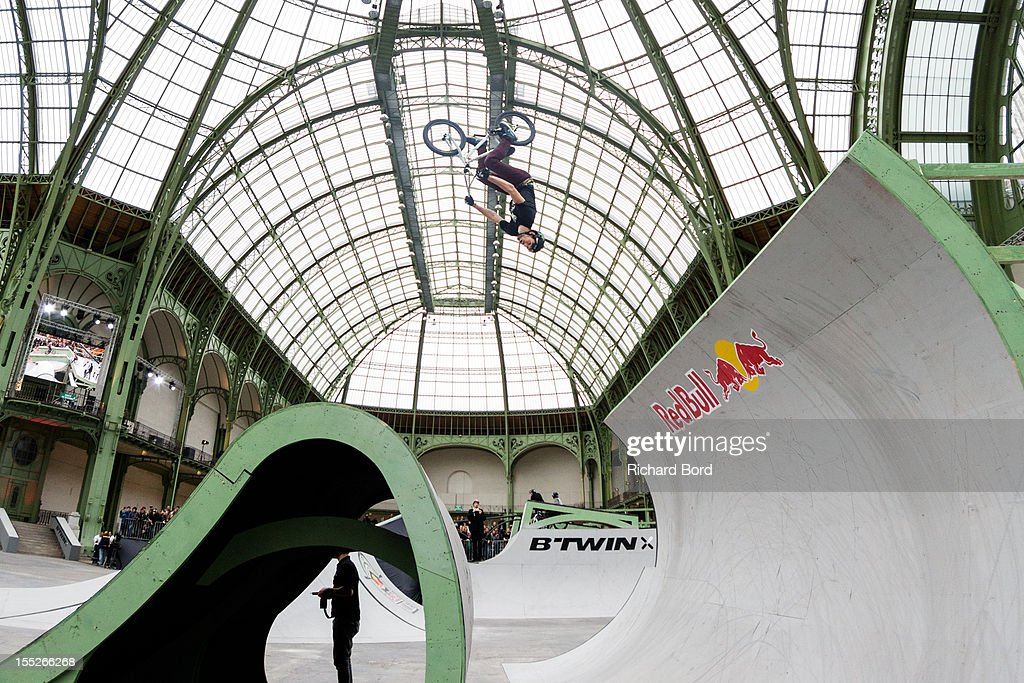 Daniel Wedemeijer from Nederland performs during a training session for the RedBull Skylines BMX Contest at Grand Palais on November 2, 2012 in Paris, France.