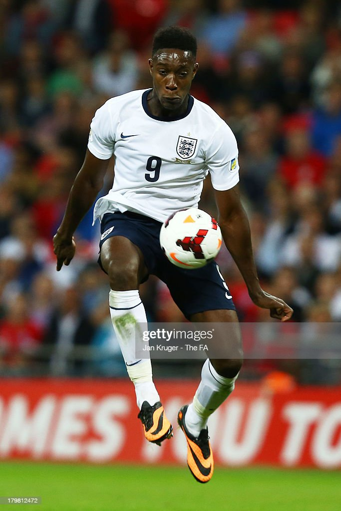 Daniel Welbeck of England controls the ball during the FIFA 2014 World Cup Qualifying Group H match between England and Moldova at Wembley Stadium on September 6, 2013 in London, England.