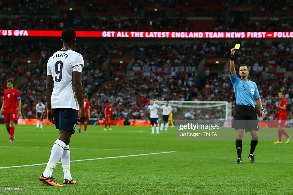 Daniel Welbeck of England is booked during the FIFA 2014 World Cup Qualifying Group H match between England and Moldova at Wembley Stadium on September 6, 2013 in London, England.