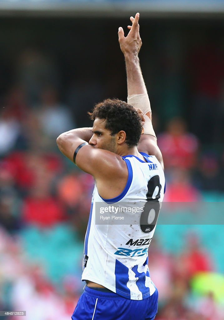 Daniel Wells of the Kangaroos celebrates a goal during the round four AFL match between the Sydney Swans and the North Melbourne Kangaroos at Sydney Cricket Ground on April 13, 2014 in Sydney, Australia.