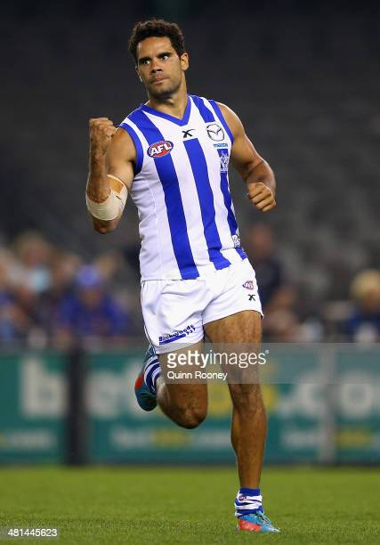 Daniel Wells of the Kangaroos celebrates kicking a goal during the round two AFL match between the Western Bulldogs and the North Melbourne Kangaroos...