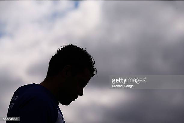 Daniel Wells walks out to the ground during a North Melbourne Kangaroos AFL training session at Arden Street Ground on August 6 2014 in Melbourne...