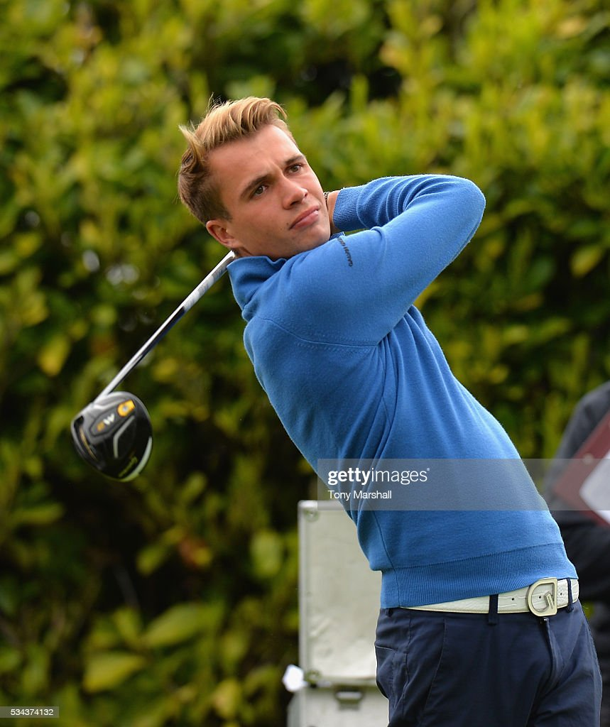 Daniel Whitby-Smith of Whittington Heath Golf Club plays his first shot on the 1st tee during the PGA Assistants Championships - Midlands Qualifier at the Coventry Golf Club on May 26, 2016 in Coventry, England.