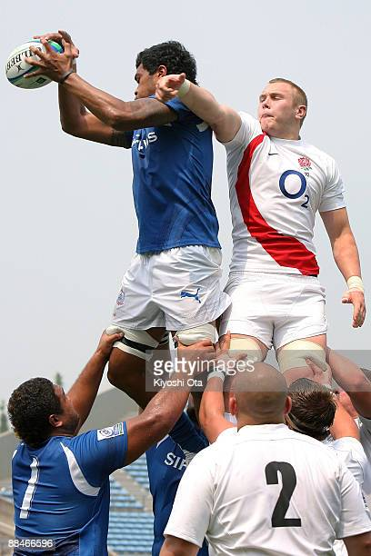 Daniel Williams of England and Faatiga Lemalu of Samoa compete in the lineout during the IRB Junior World Championship Japan 2009 match between...