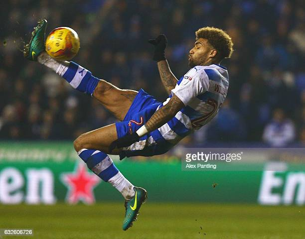 Daniel Williams of Reading attempts an overhead kick during the Sky Bet Championship match between Reading and Fulham at Madejski Stadium on January...