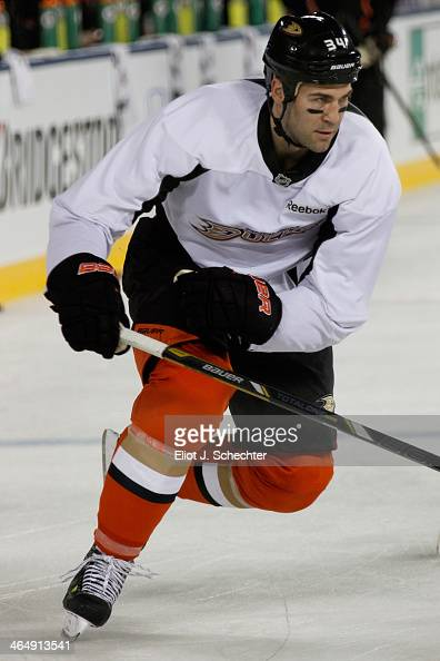 Daniel Winnik of the Anaheim Ducks attends team practice in preparation for the 2014 Coors Light NHL Stadium Series against Los Angeles Kings at...