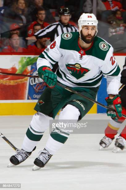 Daniel Winnik of the Minnesota Wild skates in an NHL game against the Minnesota Wild at the Scotiabank Saddledome on October 21 2017 in Calgary...