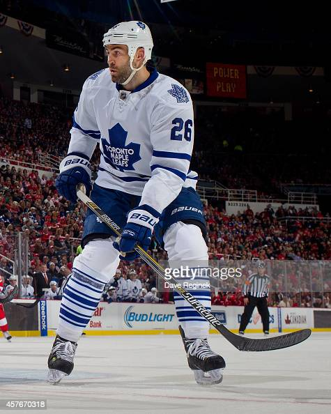 Daniel Winnik of the Toronto Maple Leafs follows the play against the Detroit Red Wings during a NHL game on October 18 2014 at Joe Louis Arena in...