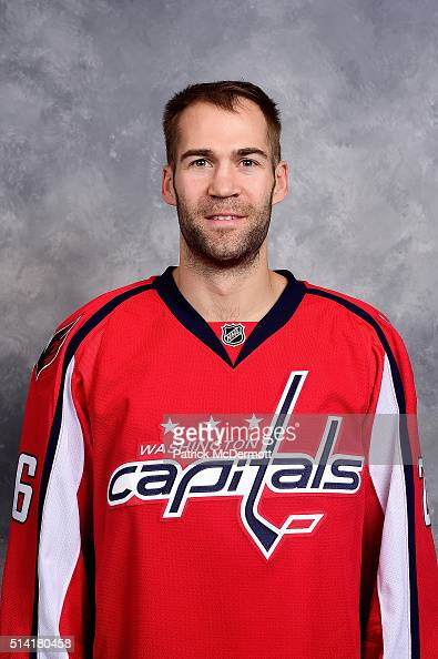 Daniel Winnik of the Washington Capitals poses for his official headshot for the 20152016 season before a game against the New York Rangers at...