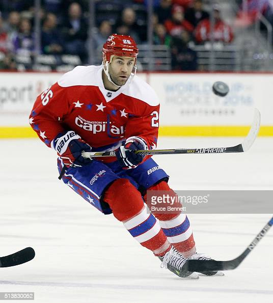 Daniel Winnik of the Washington Capitals skates against the New York Rangers at the Verizon Center on March 4 2016 in Washington DC The Rangers...