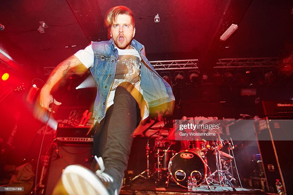 Daniel Winter-Bates of Bury Tomorrow performs on stage at the Rock Sound Empericon Tour at the Corporation on February 20, 2013 in Sheffield, England.