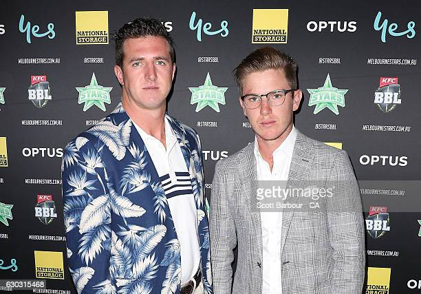 Daniel Worrall and Adam Zampa attend the Melbourne Stars BBL Season Launch at The Emerson on December 20 2016 in Melbourne Australia