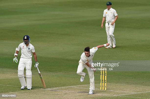 Daniel Worrall of Australia A bowls during the Cricket Australia Winter Series match between Australia A and India A at Allan Border Field on...