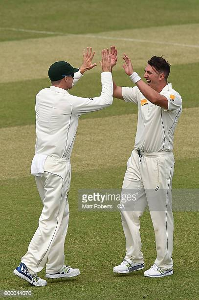 Daniel Worrall of Australia A celebrates the wicket of Akhil Herwadkar India A during the Cricket Australia Winter Series match between Australia A...