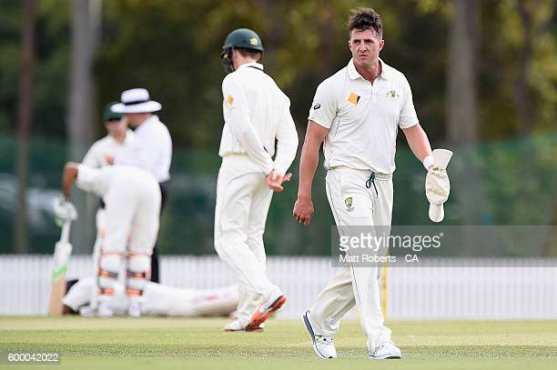 Daniel Worrall of Australia A looks on during the Cricket Australia Winter Series match between Australia A and India A at Allan Border Field on...