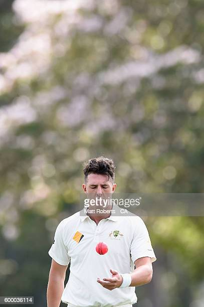 Daniel Worrall of Australia A prepares to bowl during the Cricket Australia Winter Series match between Australia A and India A at Allan Border Field...