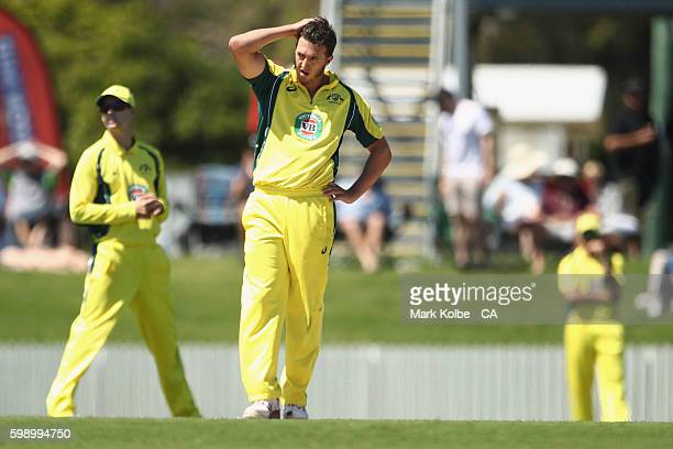 Daniel Worrall of Australia A shows his frustration during the Cricket Australia Winter Series Final match between India A and Australia A at Harrup...