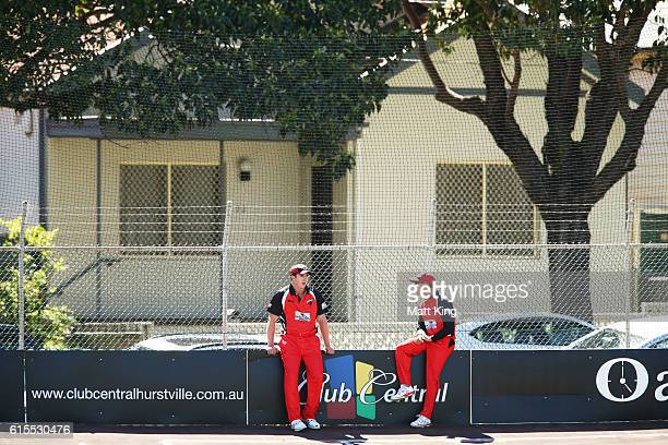 Daniel Worrall of the Redbacks and Jake Weathered of the Redbacks wait on the boundary for a ball that was hit onto the street during the Matador...