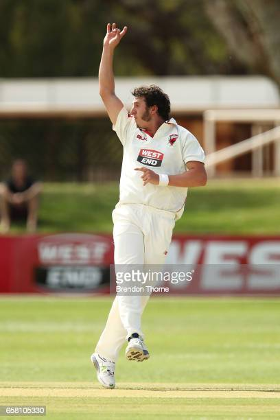 Daniel Worrall of the Redbacks appeals during the Sheffield Shield final between Victoria and South Australia on March 27 2017 in Alice Springs...