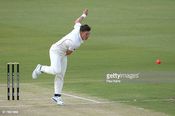 Daniel Worrall of the Redbacks bowls during day one of the Sheffield Shield match between Western Australia and South Australia at WACA on October 25...
