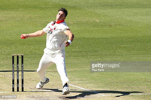 Daniel Worrall of the Redbacks bowls during day three of the Sheffield Shield match between Western Australia and South Australia at the WACA on...