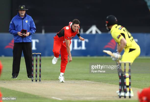 Daniel Worrall of the Redbacks bowls during the JLT One Day Cup Final match between Western Australia and South Australia at Blundstone Arena on...
