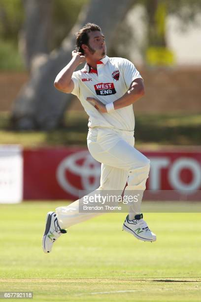 Daniel Worrall of the Redbacks bowls during the Sheffield Shield final between Victoria and South Australia on March 26 2017 in Alice Springs...