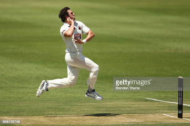 Daniel Worrall of the Redbacks bowls during the Sheffield Shield final between Victoria and South Australia on March 27 2017 in Alice Springs...