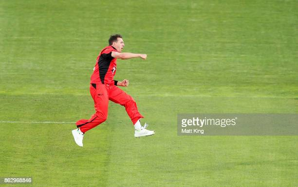 Daniel Worrall of the Redbacks celebrates taking the first wicket of Aaron Finch of the Bushrangers during the JLT One Day Cup match between South...