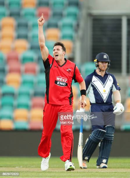 Daniel Worrall of the Redbacks celebrates taking the wicket of Marcus Harris of the Bushrangers during the JLT One Day Cup match between South...