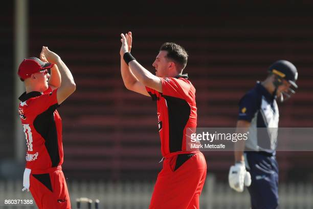 Daniel Worrall of the Redbacks celebrates taking the wicket of Matt Short of the Bushrangers during the JLT One Day Cup match between Victoria and...