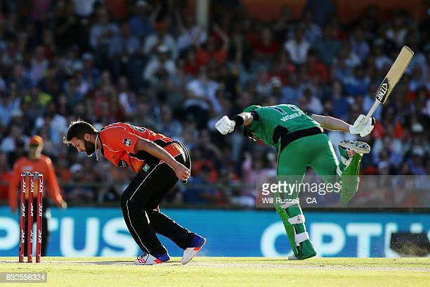 Daniel Worrall of the Stars runs for the crease during the Big Bash League match between the Perth Scorchers and the Melbourne Stars at the WACA on...