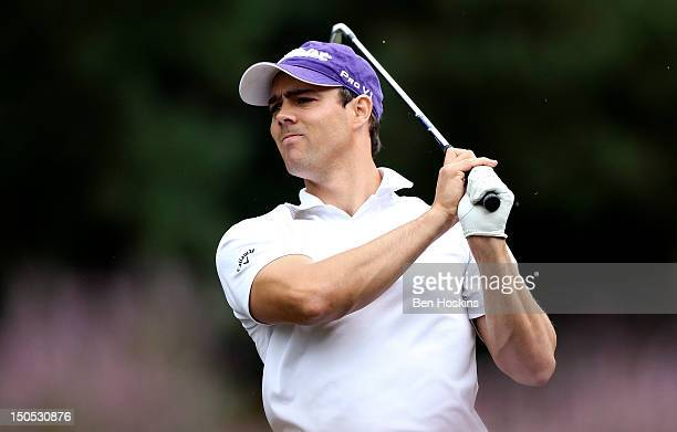 Daniel Young of Worldingham Golf Club hits his approach into the 10th hole during the Regional Final of the Virgin Atlantic PGA National ProAm...