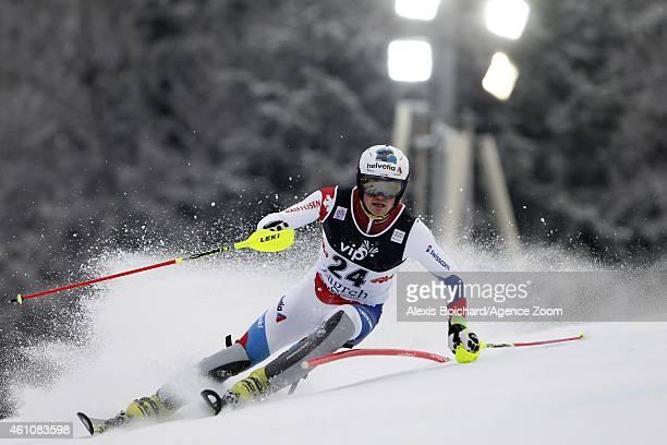 Daniel Yule of Switzerland competes during the Audi FIS Alpine Ski World Cup Men's Slalom on January 06 2015 in Zagreb Croatia